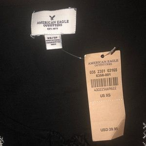 American Eagle Outfitters Tops - American Eagle Outfitters Embroided Black Crop Top